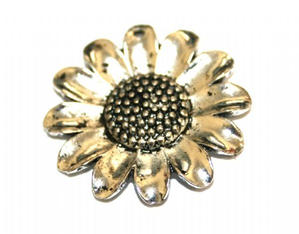 5pcs x 25mm Antique silver plated sunflower link charm witn 1 hole - S.F03 - WA150 - 2002034